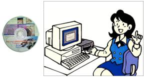 報告書のCD/:DVD化オフィスでの作業イラスト