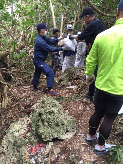 林の中での回収作業